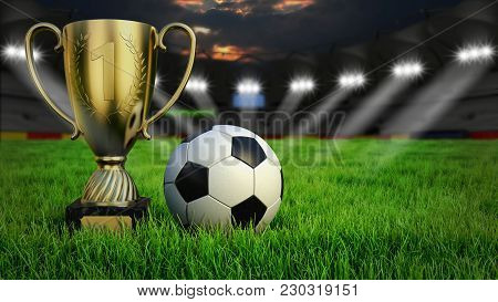 Ball With Trophy Cup On Gras In Soccer Stadium With Illumination At Night, 3d Rendering