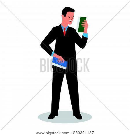 Businessman Reads Data (scientific Report, News, Development Schedule, Strategy). Vector Illustratio