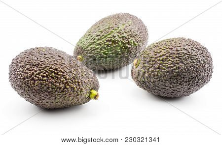 Three Avocado Isolated On White Background Ripe Green Brown Alligator Pear