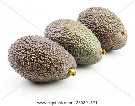 Three Avocado In Row Isolated On White Background Ripe Green Brown Alligator Pear