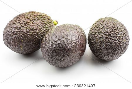 Three Avocado (green Brown Alligator Pear) Isolated On White Background