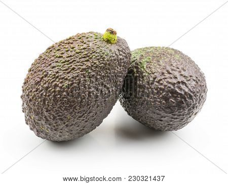 Green Brown Avocado Isolated On White Background Ripe Two Alligator Pears
