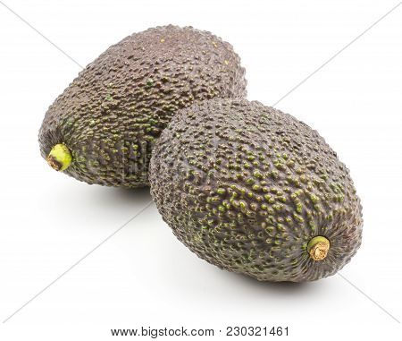 Two Green Brown Avocado Isolated On White Background Ripe Alligator Pears