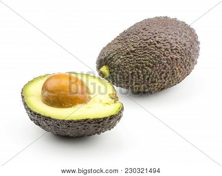 Green Brown Avocado Isolated On White Background One Ripe Alligator Pear And Cut Section Half With A
