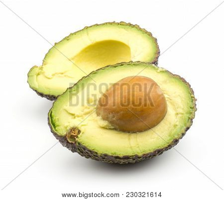 Sliced Alligator Pear (green Brown Avocado) Isolated On White Background Two Section Halves