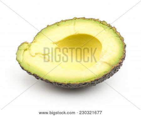 One Avocado Half Isolated On White Background Ripe Green Brown Alligator Pear