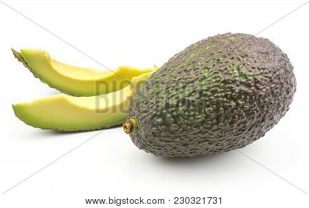 Two Avocado Slices And One Whole Green Brown Isolated On White Background Ripe Alligator Pear