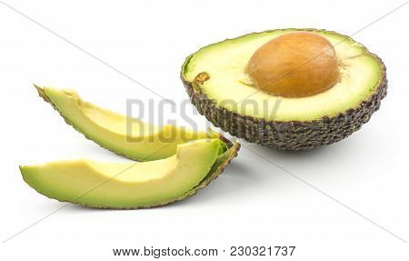 Two Avocado Slices And One Green Brown Half With A Seed Isolated On White Background Ripe Alligator