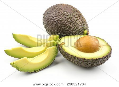 Avocado Set Isolated On White Background Ripe Green Brown Alligator Pear One Whole Section Half With