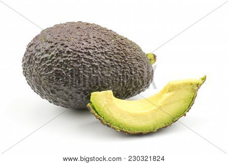 Avocado And One Slice Isolated On White Background Ripe Green Brown Alligator Pear