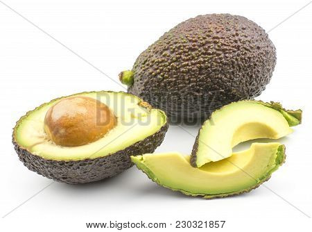 Avocado Set One Whole Two Fresh Cut Slices And One Half With A Seed Isolated On White Background Rip