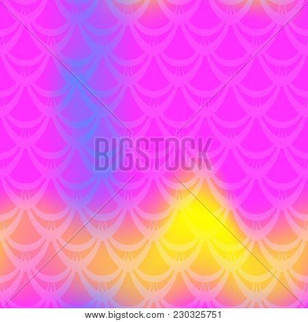 Vivid Mermaid Vector Background. Multicolored Iridescent Background. Fish Scale Pattern. Seamless Pa