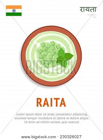 Raita. National Indian Dish. Vegetarian Food. View From Above. Vector Flat Illustration.