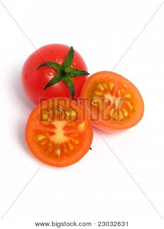 Cherry tomatoes, whole and halved