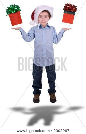 Boy In Christmas Hat Floating