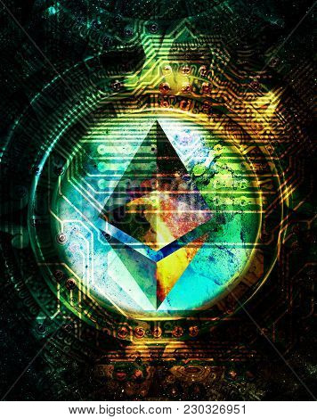 Ethereum Cryptocurrency Concept And Maya Calendar, Graphic Collage In Cosmic Space