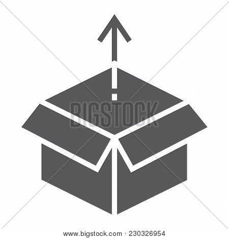 Product Release Glyph Icon, Development And Business, Open Box Sign Vector Graphics, A Solid Pattern