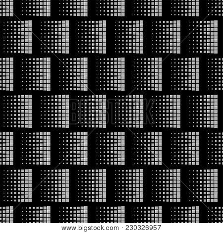 Seamless Pattern With Square. Abstract Black Geometric Texture. Vector Regular Illustration