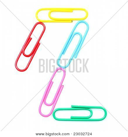 Colorful number two from paperclips. One part of funny school or office alphabet.