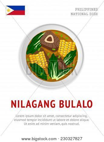 Nilagang Bulalo. National Filipino Dish. View From Above. Vector Flat Illustration.