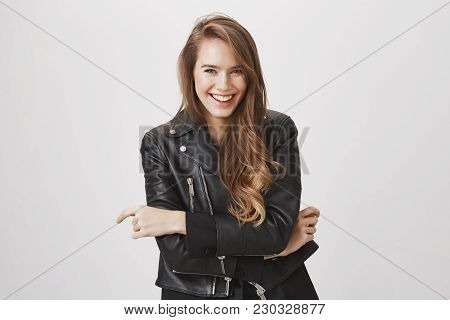 Laughing Out Loud In This Beautiful Spring Day. Portrait Of Attractive Urban Girl With Blond Hair In