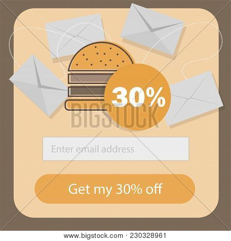 Fast Food Coupon Discount Template Flat Design - Promotion Email Subscribe Form