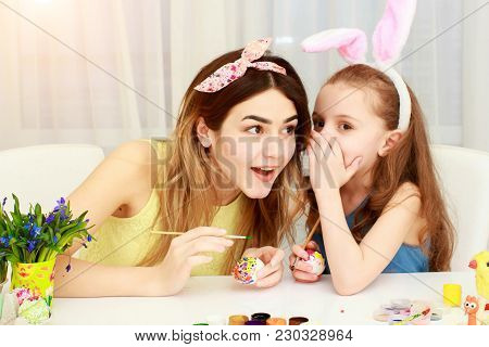 Easter Holiday, Easter Day, Happy Family, Holiday Concept, Mother And Daughters Painting Easter Eggs