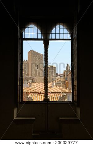 Antique Old Window With View Of Roof In Medieval Town, Italy. Selective Focus