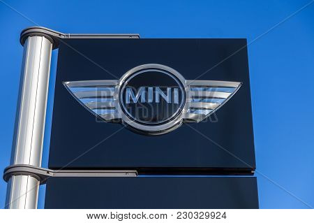 Nuernberg / Germany - March 4, 2018: Mini Logo Sign Near A Car Dealer In Germany.