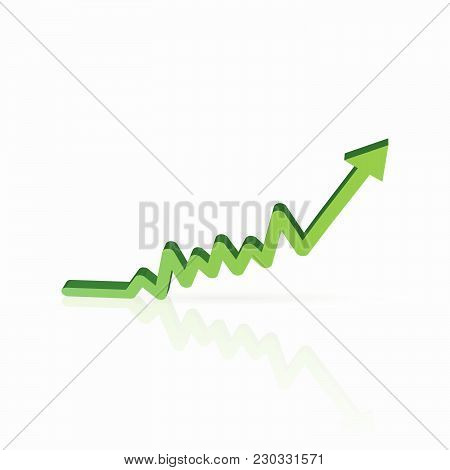 Illustration Of A Green Sales Chart Isolated On A White Background.