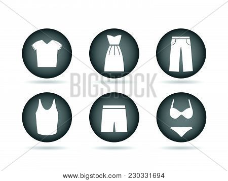 Illustration Of Clothing Icon Buttons Isolated On A White Background.