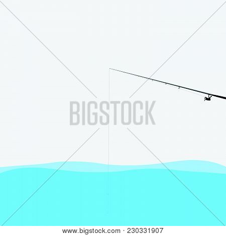 Illustration Of A Fishing Pole In Water.