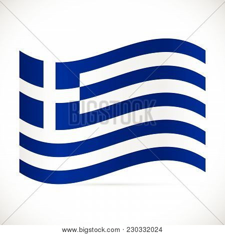 Illustration Of The Flag Of Greece Isolated On A White Background.