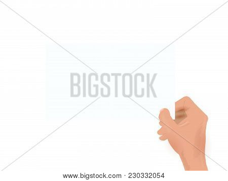 Illustration Of A Handing Holding A Card Isolated On A White Background.