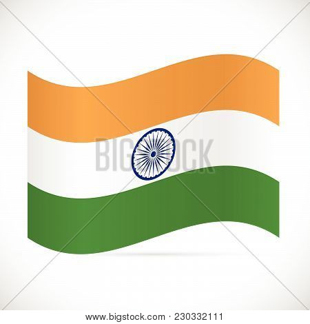 Illustration Of The Flag Of India Isolated On A White Background.