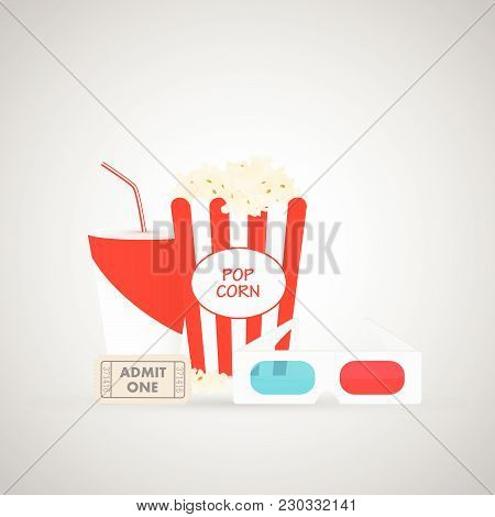 Illustration Of Movie Ticket, Soda, Popcorn And 3d Glasses On A Gray Background.