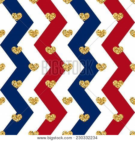 Gold Heart Seamless Pattern. Red-blue-white Geometric Zig Zag, Golden Confetti-hearts. Symbol Of Lov