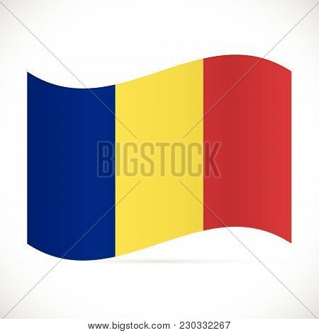Illustration Of The Flag Of Romania Isolated On A White Background.