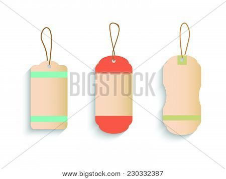 Illustration Of Various Vintage Tags Isolated On A White Background.