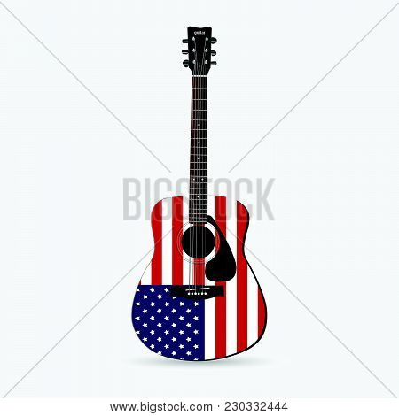 Illustration Of A Red, White And Blue Guitar Isolated On A White Background.