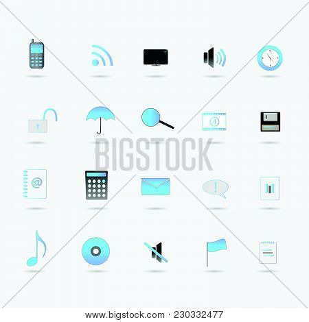 Illustration Of Various Blue Web Icons Isolated On A White Background.