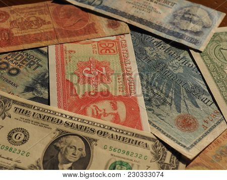 Vintage Money Of Communist Countries And Dollar Notes