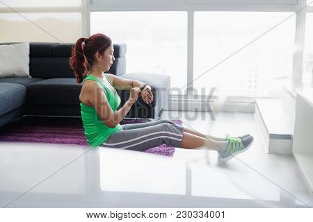 Retired Old People, Fitness And Sports. Elderly Woman Working Out At Home. Active Senior Lady Exerci