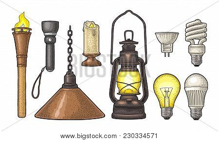 Set Lighting Object. Torch, Candle, Flashlight, Retro Gas Lamp, Light Incandescent Bulb, Halogen, Cf