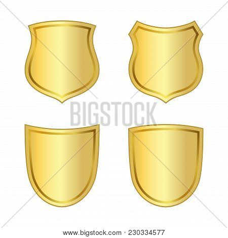 Gold Shield Shape Icons Set. 3d Golden Emblem Signs Isolated On White Background. Symbol Of Security