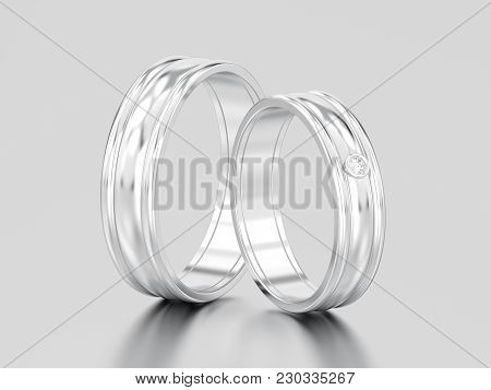 3d Illustration Two White Gold Or Silver Matching Couples Wedding Diamond Rings Bands On A Gray Back