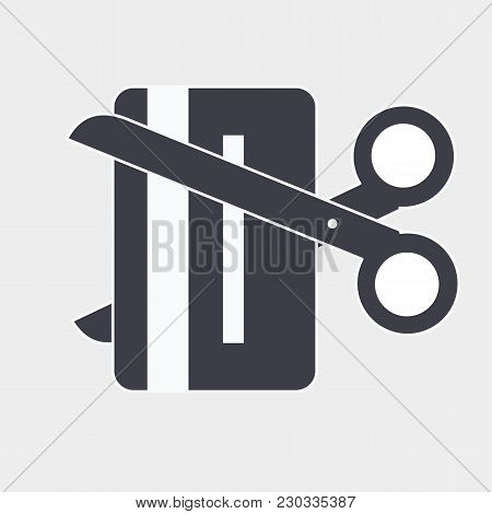 Cut Expired Credit Card Thin Line Vector Icon. Flat Icon Isolated On The White Background. Editable