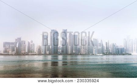 Doha City, Qatar - December 18, 2017: Al Dafna - Seaside District Of The Qatari Capital Doha Located