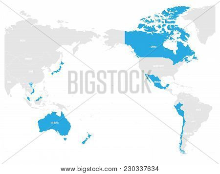 Map Of Comprehensive And Progressive Agreement For Trans-pacific Partnership, Cptpp Or Tpp11. Blue H