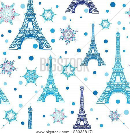 Vector Blue White Eifel Tower Paris And Snowflakes Seamless Repeat Pattern. Perfect For Holiday Trav